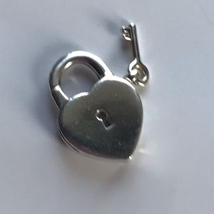 Tiffany & co heart padlock with key charm/pendant